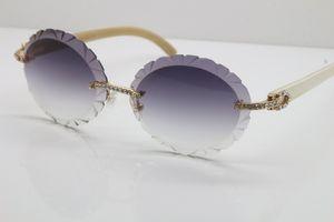 Sem aro esculpido lente T8200761 Diamante Vintage Sunglasses Óculos de sol pretos Genuine marca Natural chifre óculos de sol designer de moda para homens