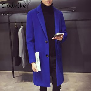 Godlike 2018 Männer Winter Neue Mode Business Casual in der langen schlankeren Hülse Wollmanteljacke Baumwolle