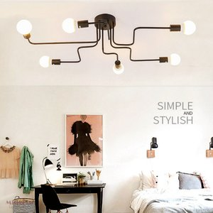Multiple teto Rod ferro forjado luz 4/6/8 Chefes Retro Loft industrial Nordic Lamp Dome para Home Hotel Dinning Cafe Bar Decor