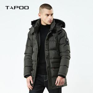 2018 neue Männer Winter Casual Parkas lange dicke warme gefütterte Jacken Mens Kapuzenpelzkragen feste Mode Mäntel männlich große Größe
