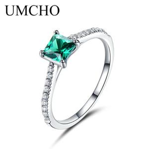 UMCHO Green Nano Emerald Ring Genuine Solid 925 Sterling Silver Fashion Vintage maggio Birthstone Anelli per le donne gioielli S18101001