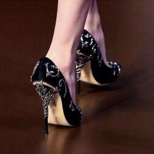 Ralph Russo EDEN PUMPE weißen Taupe Satin mit Splitter verlässt Hochzeit Schuhe Frauen ornamentalen filigranen Blätter verschönert Party Schuhe mujers