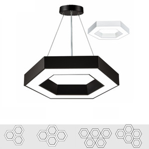 Bureau moderne Hexagone Led Pendant Light Minimalisme pendentif en métal Les luminaires à tubes Luminaria Lampares Led Lampe suspendue Light Suspension