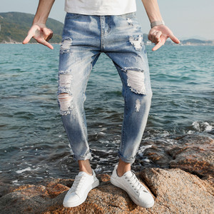 Hombres Jeans Stretch Skinny Hole Ropped Bleached Retro Casual Summer Men Denim Jeans Slim Washed Hasta el tobillo Pantalones Hombre