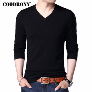 COODRONY Chandail Hommes 2018 Automne Hiver Plus La Taille Tricots Multicolore Col V Pull Homme Cachemire Pull Hommes Laine Pulls 7186 S917