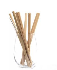 20cm Bamboo Straws Bamboo Cannuccia Riutilizzabile Eco Friendly Handcrafted Natural Cannucce e Spazzola per la pulizia