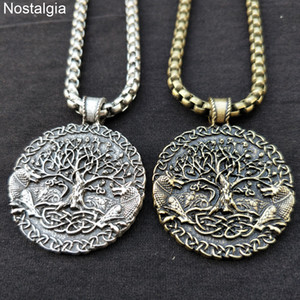Nostalgia Tree Of Life Necklace Wolf Pendant Amulet Viking Jewelry WICCA Pagan Talisman 2 Wolves Accessories Dropshipping