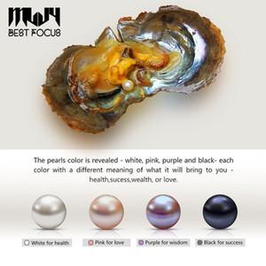 Perlas de Akoya redondas de 6-7 mm envasadas al vacío en Oyster Mixed Colors White Pink Lavender Black 3A Grade Natural Pearl 10 pcs / lote
