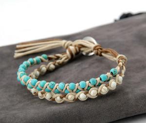 Nuove pietre a mano Howlite cera braccialetto di amicizia intrecciato braccialetto dell'involucro per gli amanti Bohemia Jewelry Dropshipping