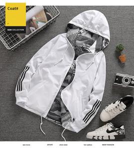 Veste Manteau Printemps Mode Automne poche zippée à capuchon Deux Wear Side Lettre hommes Imprimer Outwear lâche coupe-vent