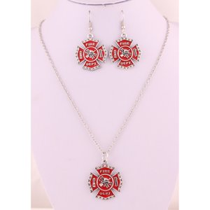 Red Charm Earring Enamel Trade Crystal Cross Service Religious Dept Necklace Fire Jewelry Set Firefighter Assurance Pendant Pfrro