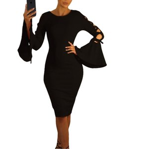 Vintage Party Dresses Women Summer Elegant Club Midi Dress 1950s F0345 Long Bell Sleeve Hollow Out