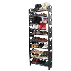 간단한 신발 랙 플라스틱 이동식 10 층 블랙 컬러의 신발 홀더 스토리지 랙 가구 옷장 주최자 홈 실내 정원 (26) 비비 9pc