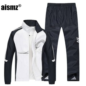 Aismz 2018 erkek Set Bahar Sonbahar Erkekler Spor 2 Parça Set Spor Suit Ceket + Pantolon Eşofman Erkekler Giyim Eşofman