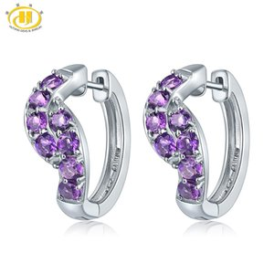 African Amethyst Clip Earrings Solid 925 Sterling Silver Natural Gemstone Fine Fashion Stone Jewelry For Women's Gift New