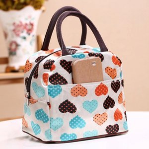 New Canvas Heart Lunch Tote Bag Cooler Box Lunchbox Bag Handbag Picnic Sundry Shopping