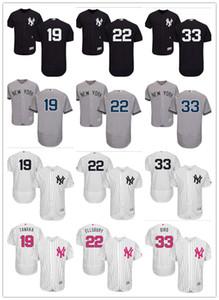 Personalizado Homens Mulheres Juventude NY Yankees Jersey # 19 Masahiro Tanaka 22 Jacoby Ellsbury 33 Greg Pássaro Início Preto Branco Cinza Baseball Jerseys