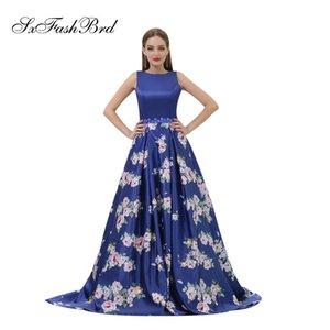 Basit O Boyun Aç Geri Bir Çizgi Mavi Baskı Saten Uzun Parti Örgün Abiye Kadın Balo Elbise Modelleri