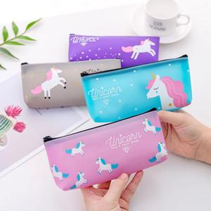 cartoon unicorn pencil pen case kawaii stationery storage pouch girl boy school supplies cosmetic makeup organizer