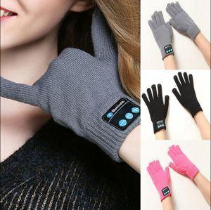 Guantes inalámbricos bluetooth mujeres knit wearable smart bluetooth auriculares de música altavoz cálidos mitones guantes de pantalla táctil 4 colores 100 unids OOA3890