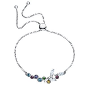 El nuevo brazalete de plata de ley S925 de cadena de cola resbaladiza utiliza un brazalete de cristal Swarovski