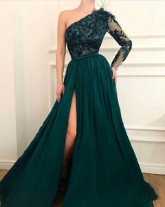 Одно плечо длиной до пола, линии сплит с длинными рукавами аппликация сексуальные вечерние платья 2018 выпускного вечера платья на заказ