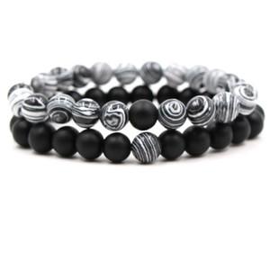 Malaquita Pulseira Pedra redonda Beads Mulheres Homens Meditação Preto Natural Bracelet Bead Pedra