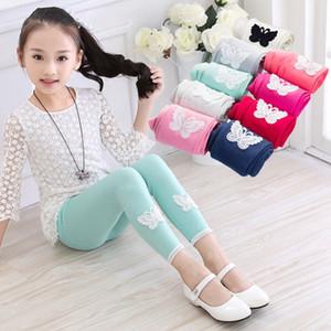 Meninas verão leggings 14 cores rendas borboleta e apliques de flores crianças calças no tornozelo comprimento elástico na cintura calças compridas roupas esportivas