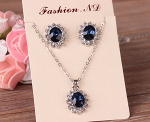 Wedding Jewelry Sets For Brides Plated Crystal Stone Necklace earrings Set African Party Jewelry Sets