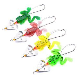 50PCS Frog Fishing Lures Spoon Fishing Tackle Hard Artificial Lifelike Spinnerbait Fishing Bait 6g