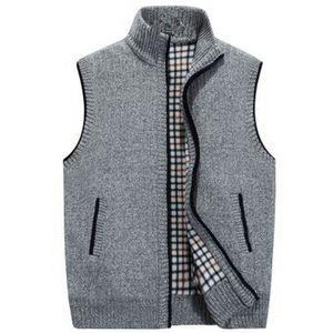 VXO Cardigan de punto para hombre de invierno más terciopelo grueso chaleco chaleco cuello alto chaqueta chaleco gran tamaño suéter