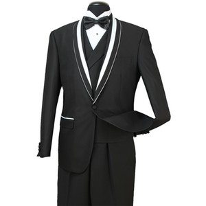 Stok Erkek Biçimsel Wedding yılında 8 Fotoğraf 30 2018 Damat Groomsmen Tuexdos İş Şal Yaka 3 adet (ceket + Yelek + Pantolon) ST007 Wear Takımları