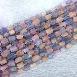 Natural Genuine Raw Mineral Azul Rosa Água Marinha Beryl Morganite Nugget Forma Livre Solto Áspero Fosco Contas Facetada 6-8mm 05395