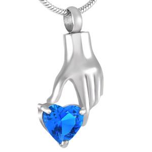 IJD9231 acier inoxydable Crémation Cendres Urne Tenir la main Bleu Cristal Coeur Memorial Keepsake Urne collier pendentif bijoux charme en gros