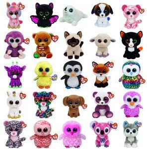 Vente chaude Ty Beanie Boos Grands Yeux Hibou Chat Licorne Éléphant Pingouin Leopard Foxy Chien Lapin Girafe Panda Singe Peluches Animaux En Peluche Jouets