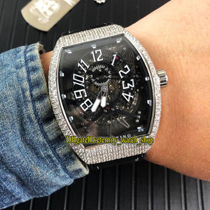 Luxry VANGUARD YACHTING GRAVITY V45 T GR YACHT SQT Black Skeleton Dial Automatic Mens Watch Silvery Diamond Case Rubber Strap Sport Watches