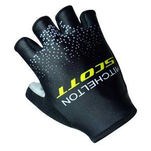 2018 команды Скотт Велоспорт велосипед противоскользящие лари Спорт половина Finger перчатки Силиконовые размер:S-ХL