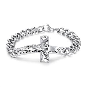 Распятие иисус христос крест шарм мужчины браслет звено цепи из нержавеющей стали золотой браслет мужской 21 см подарок ювелирных изделий GS972