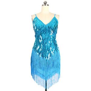 Donne 5 colori frangia nappa latino sala da ballo salsa cha cha Samba rumba DS costumi sequin costumi in vendita
