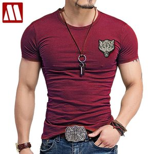 2018 Men's Wolf embroidery Tshirt Cotton Short Sleeve T Shirt Spring Summer Casual Men's O neck Slim T-Shirts Size S-5XL