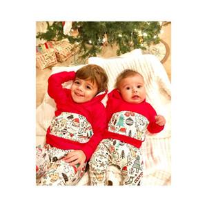 인사 크리스마스 유아 아기 옷 세트 키즈 후드 긴 소매 탑 Tshirt + 바지 2pcs 어린이 의상 14349