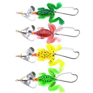 Бионическая лягушка рыбы приманки с вращением листового металла 4 цвета мягкие приманки практические рыболовные инструменты завод прямых продаж 1 6hw х
