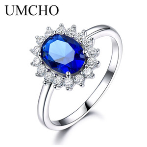 UMCHO Luxo Safira Azul 6 * 8mm Princesa Diana Anéis Genuine 925 Sterling Silver Anéis de Noivado Para As Mulheres da Jóia Do Casamento Y18102510