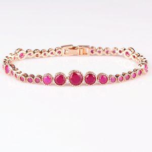 Red Corundum Set Bracelet Vent Exquis Rose Or Et Cuivre Main Décorer Rubis Bracelet