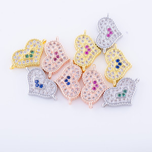 Wholesale Handmade Jewelry DIY Finding Accessories Micro Pave Heart Bracelets Necklace Charms Earrings Connectors Clasps Components Fittings