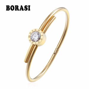 BORASI Acero inoxidable carta pulseras  brazaletes para mujeres encantos pulseras oro Color cristal joyería para regalo de San Valentín