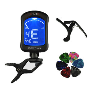 Aroma AT-355 Chromatic Bass Violin Ukulele Guitar Tuner + Capo + 6 Plettri