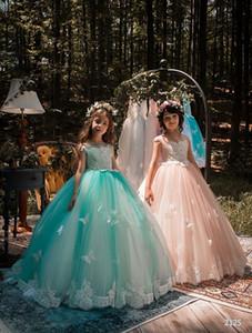 2018 Flügelärmel Lace A Line Blumenmädchenkleider Tüll Applique 3D Buttly Fly Perlen bodenlangen Kleider Prinzessin Birthday Party Kleider
