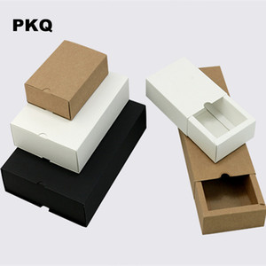 Favores del banquete de boda del envío libre presente caja blanca pequeña caja de Kraft para la joyería del jabón DIY cajas de papel del cajón para empaquetar 50pcs