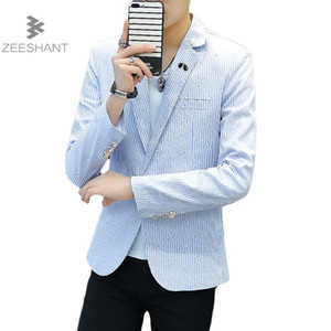 Zeeshant 2018 New  Spring Mens Striped Blazer  Casual Men Suit Jacket Slim Fit Korean Fashion Plus Size XXXL Blazers
